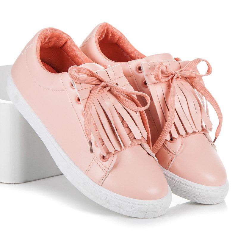 Suprovní růžové tenisky s třásněmi
