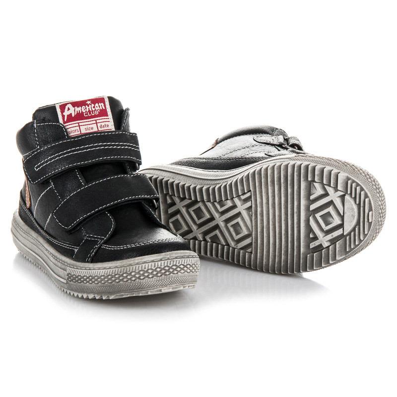 Teplé černé chlapecké kotníkové boty na suchý zip
