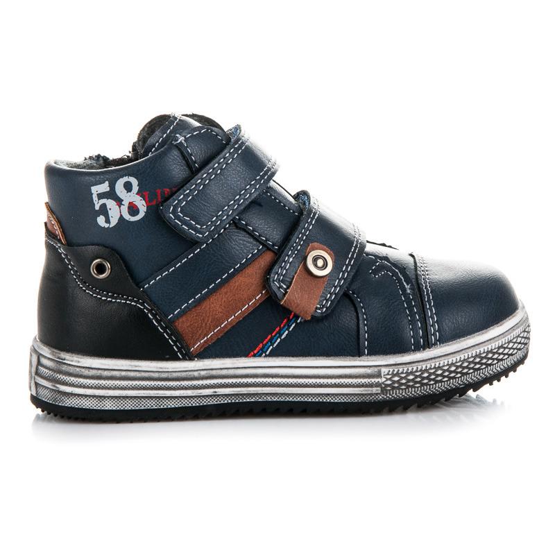 Teplé modré chlapecké kotníkové boty