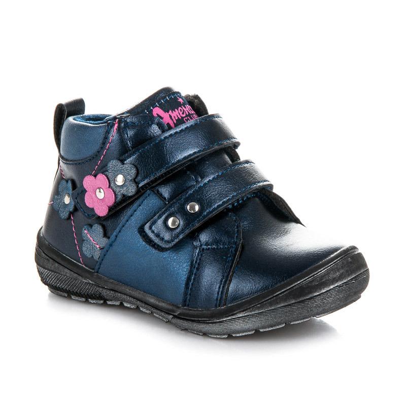 Teplé modré dívčí kotníkové boty na suchý zip