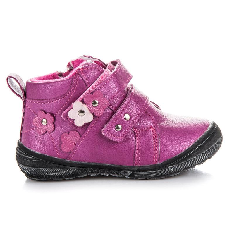 Teplé růžové dívčí kotníkové boty na suchý zip  aac541bfd2