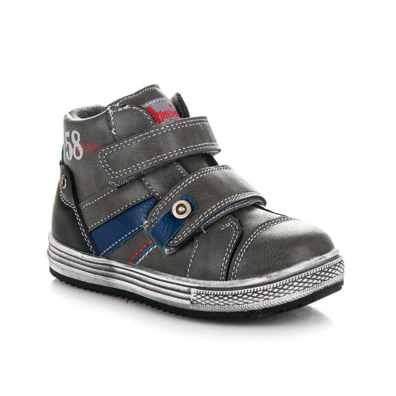 Teplé šedé chlapecké kotníkové boty