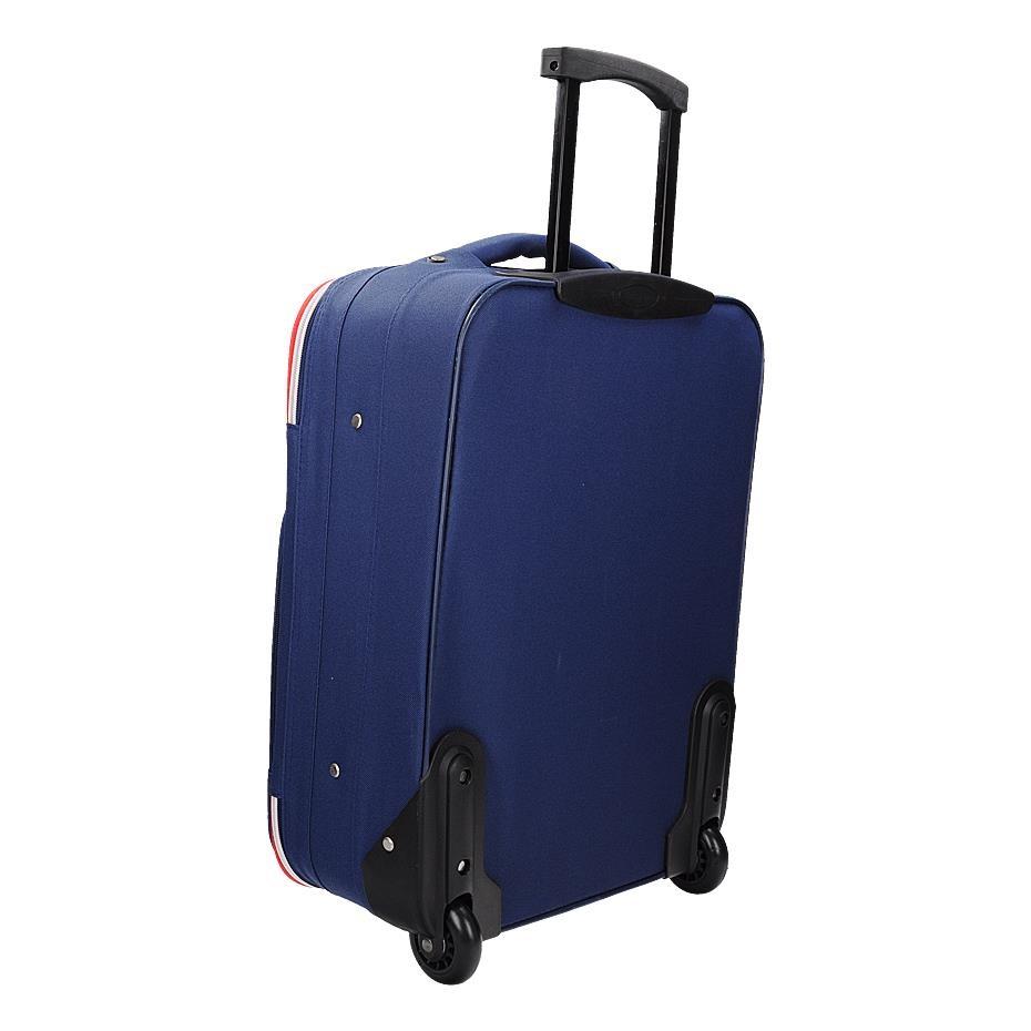 Univerzální textilní modrý kufr klasického designu