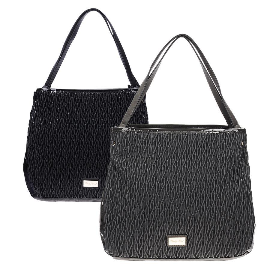 Úžasná módní kabelka s efektním vzorem v černé a šedé barvě