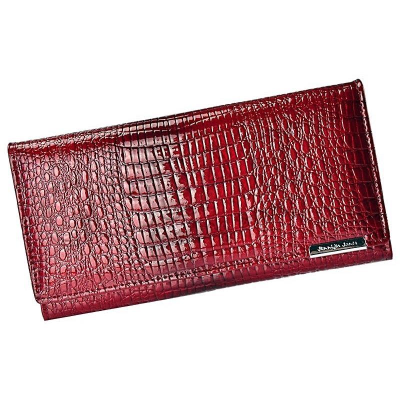 Velká červená kožená dámská peněženka
