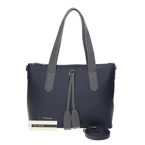 Velká modrá dámská kabelka přes rameno