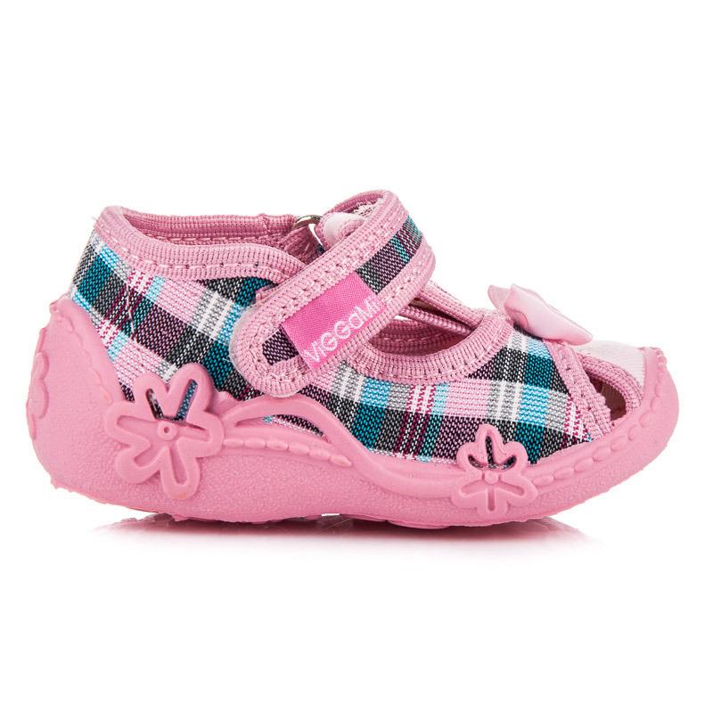Veselé růžové dětské papuče na suchý zip  5ffed5ad3e