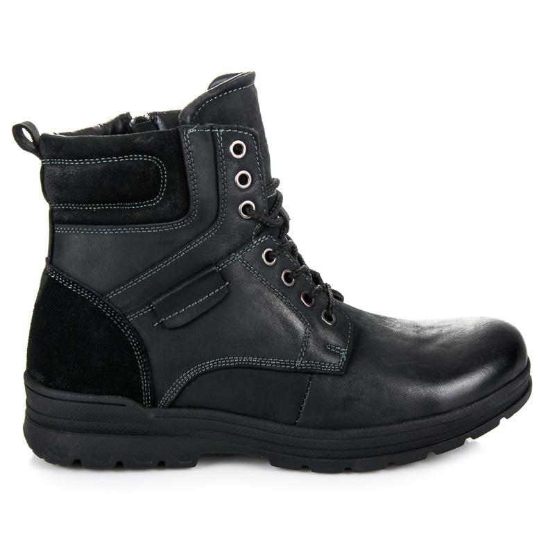 Vysoké černé pánské kotníkové boty na šněrování