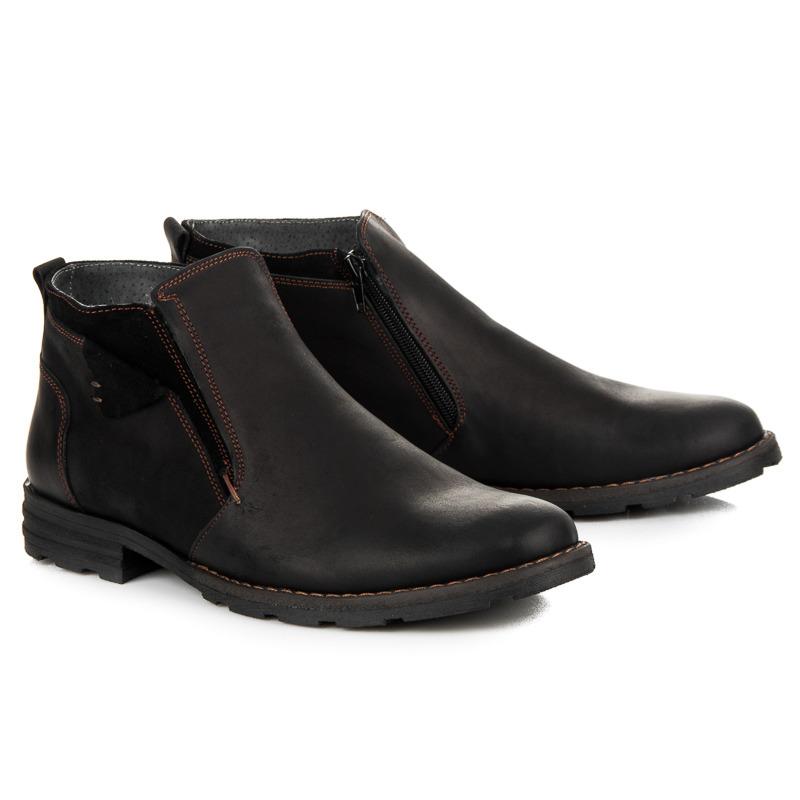 Zateplené černé pánské kožené kotníkové boty na zip