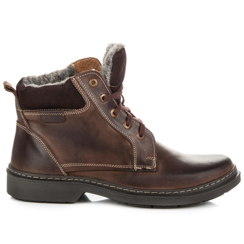 Zimní hnědé pánské kožené boty s kožíškem