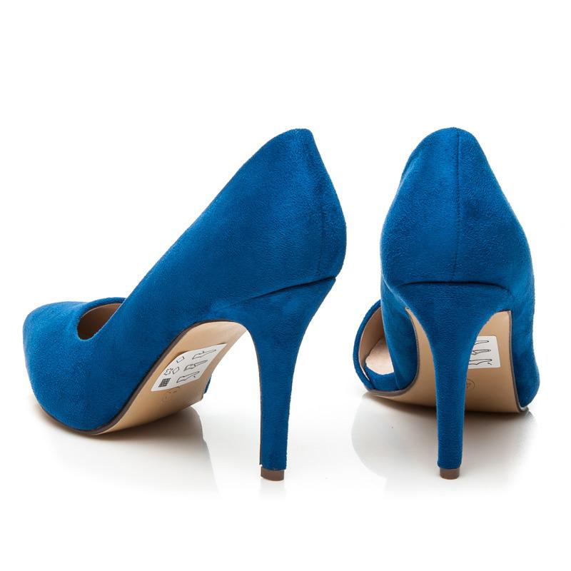 ... Asymetrické semišové modré lodičky ... 8bd641c3f0