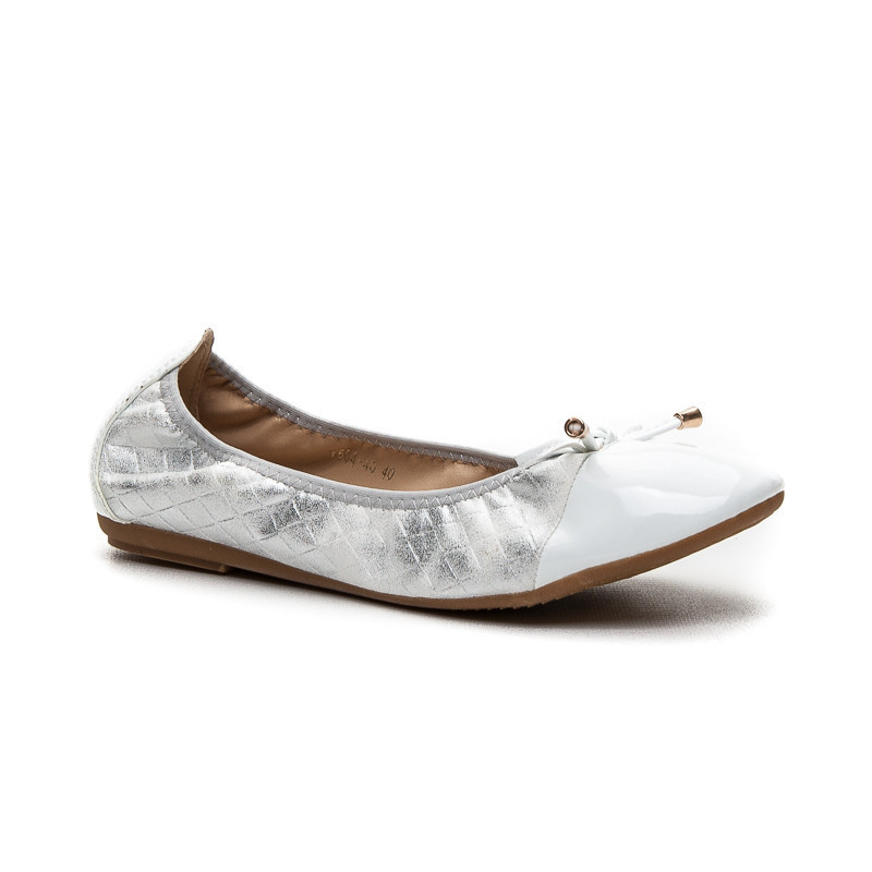 Bombastické stříbrné dámské baleríny