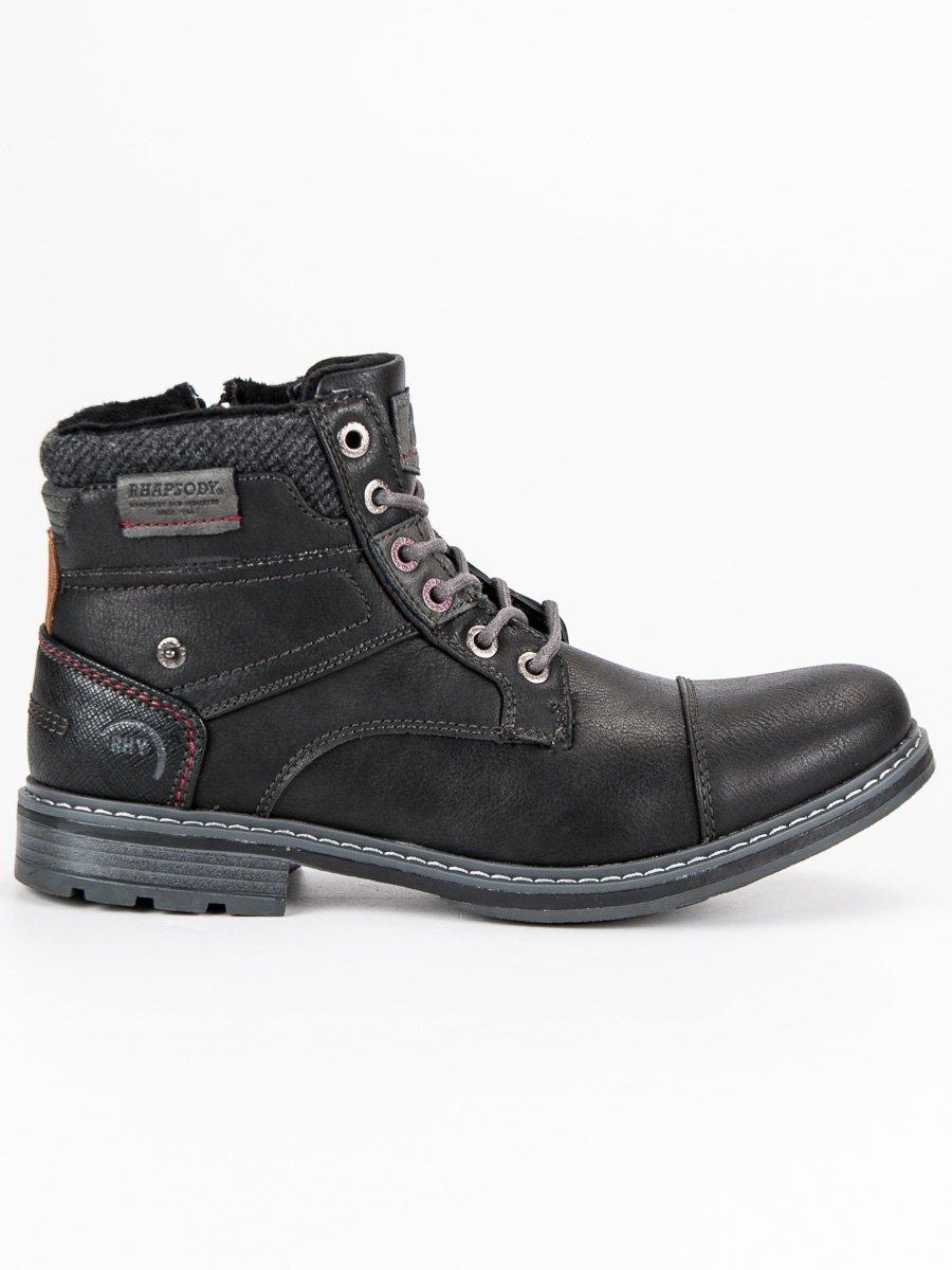 Casualové černé pánské kotníkové boty