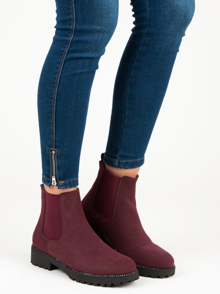 760efe69fa6 Casualové červené kotníkové boty