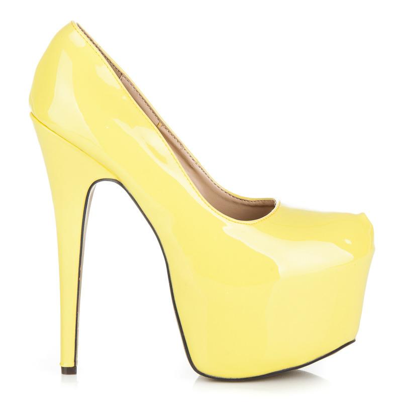 896edc449110 Dámské sexy žluté lodičky na platformě