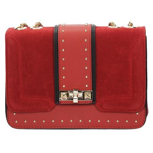 Designová červená crossbody kabelka s řetízkem