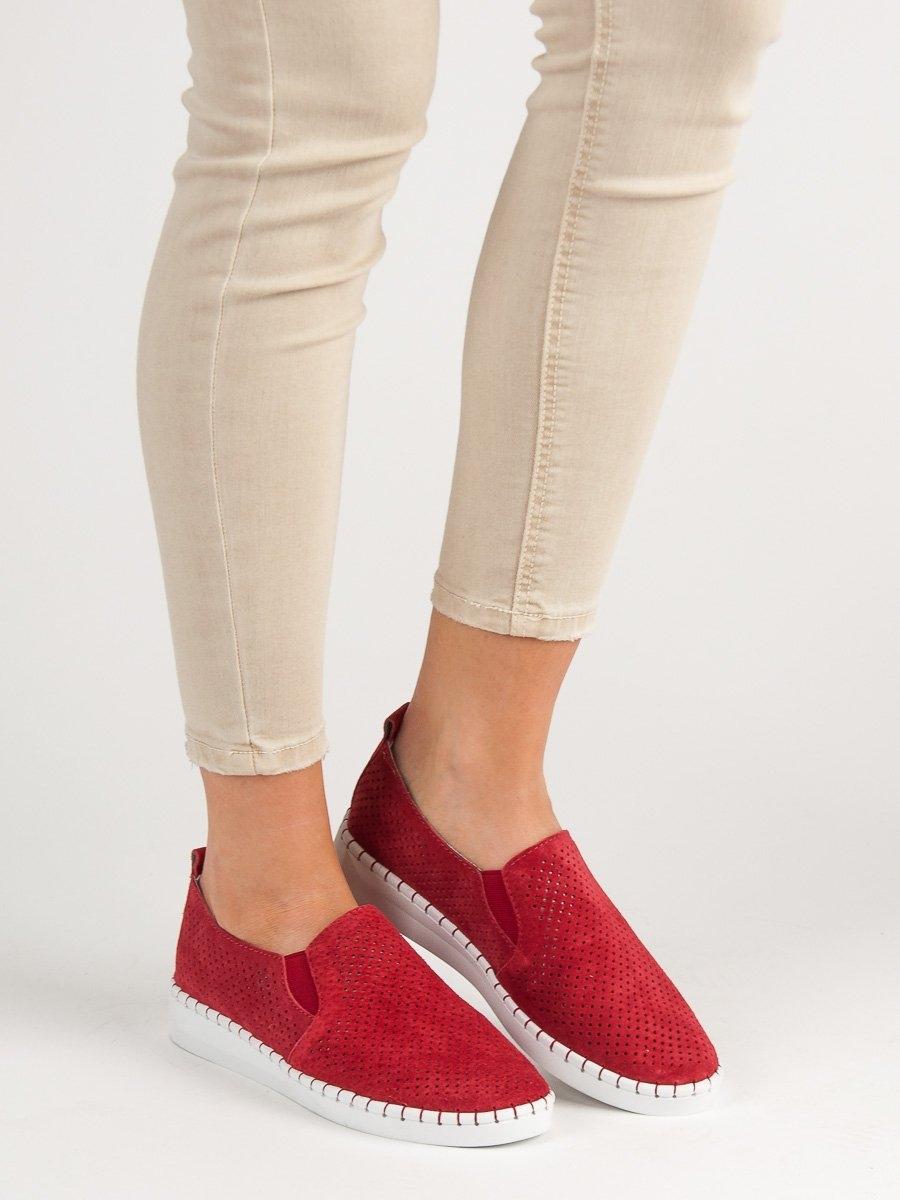 1465d6dd7c Designové dámské tenisky červené bez podpatku