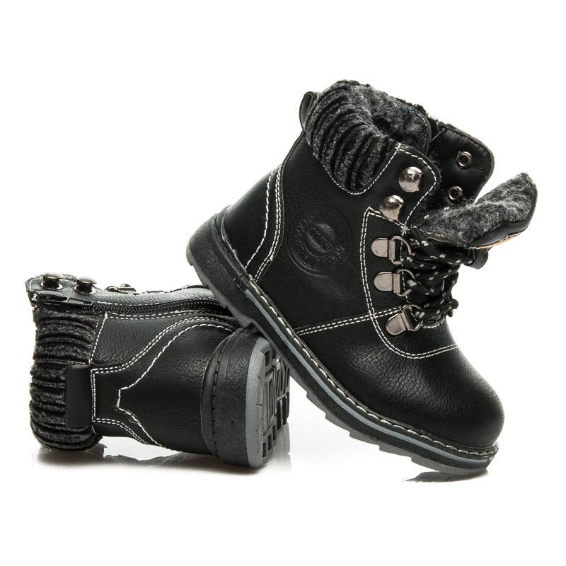 Dětské černé zimní kotníkové boty na šněrování  3212f7e962