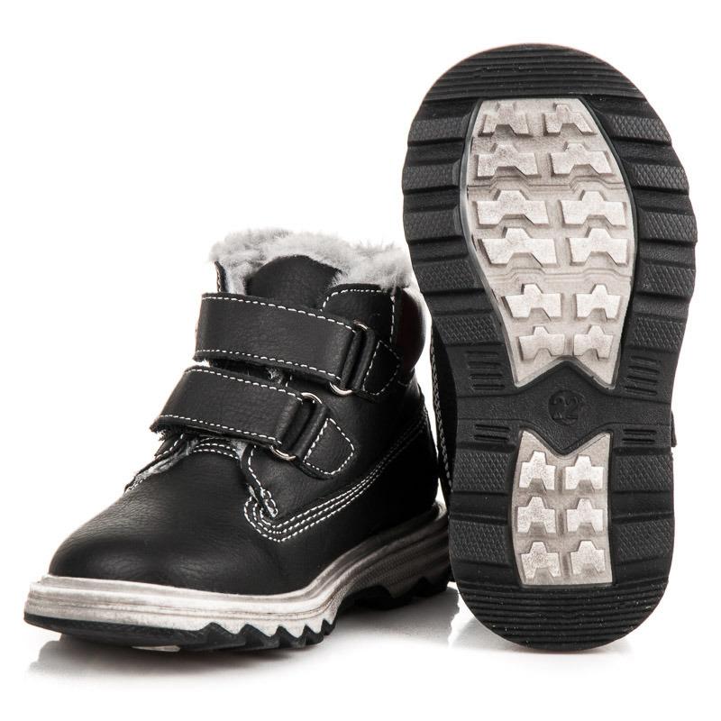 ... Dětské černé zimní kotníkové boty na suchý zip a6d240b8c3