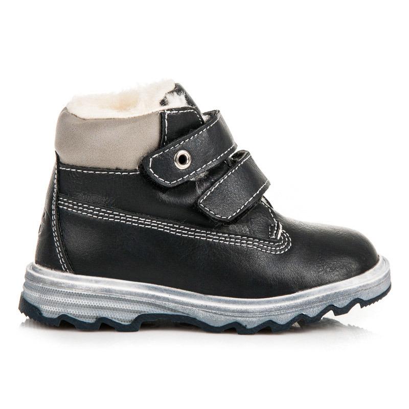 Dětské modré zimní kotníkové boty na suchý zip  a98fc72853
