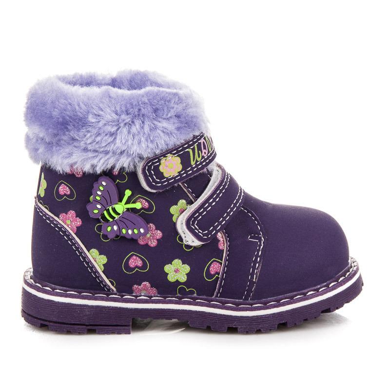 Dětské zimní fialové kotníkové boty na suchý zip  dd72416a04