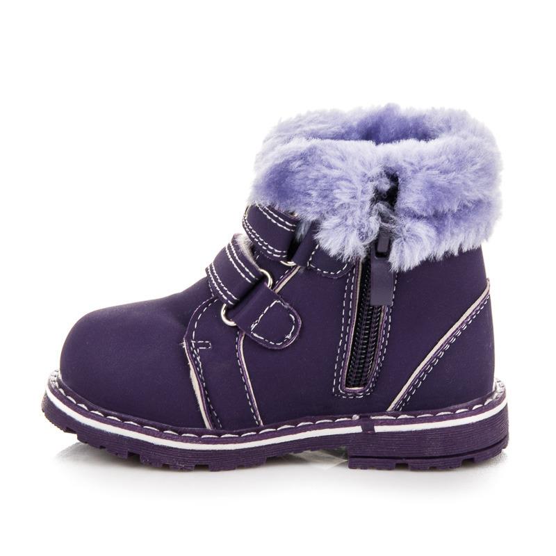 ... Dětské zimní fialové kotníkové boty na suchý zip 23a78a909d