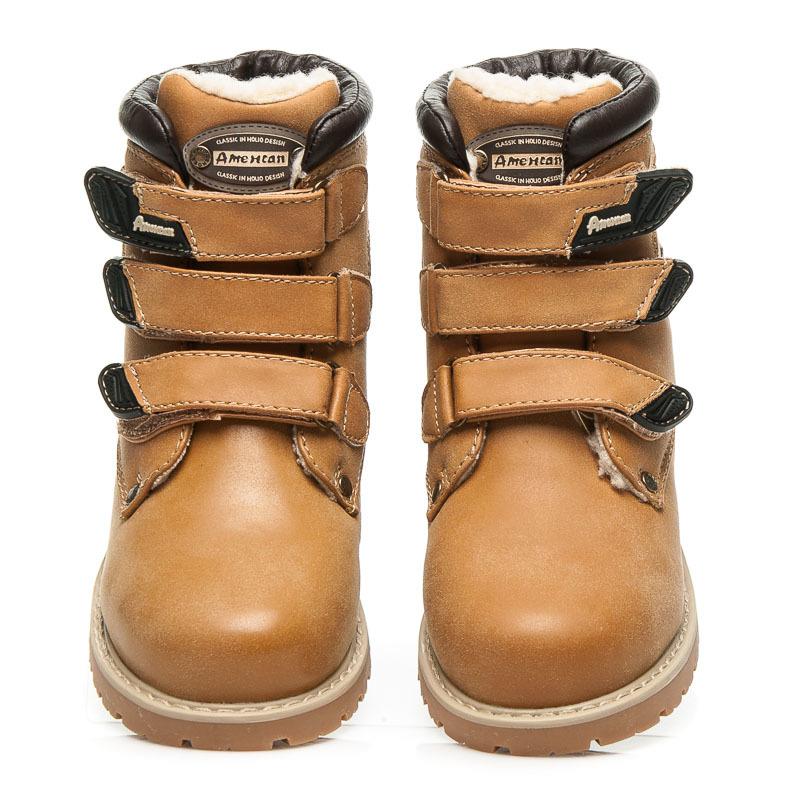 Dětské zimní hnědé kotníkové boty na suchý zip  ce5ba4ec4b