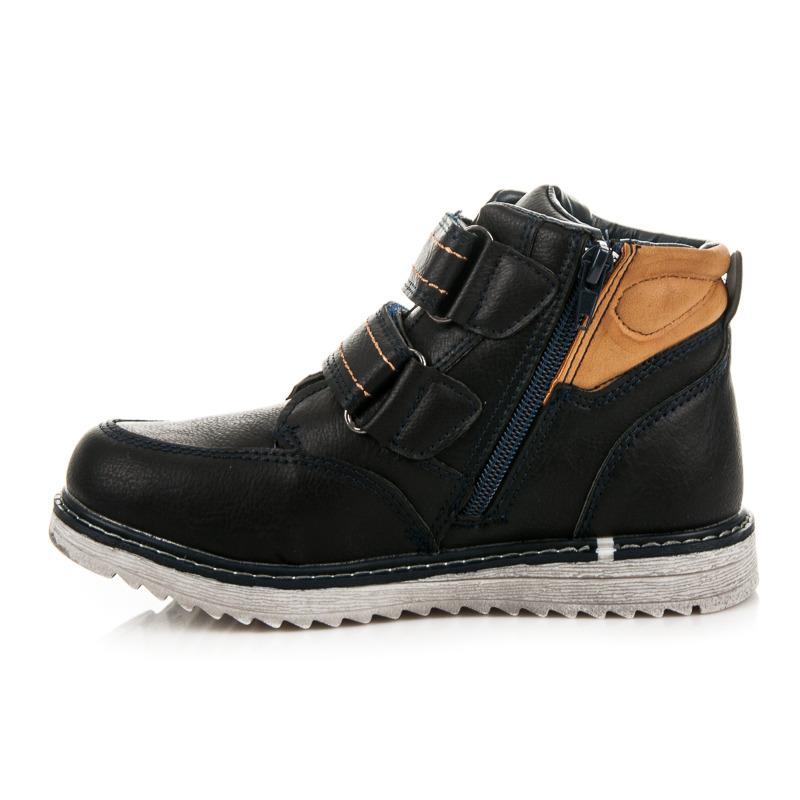 ... Dětské zimní modré kotníkové boty na suchý zip ... db770fbf23
