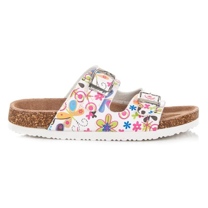 Dívčí bílé korkové pantofle s originálním vzorem