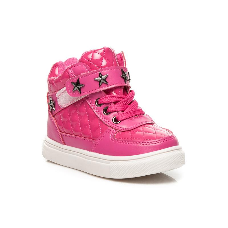 Dívčí růžové prošívané kotníkové boty s hvězdami  ea3f2189255