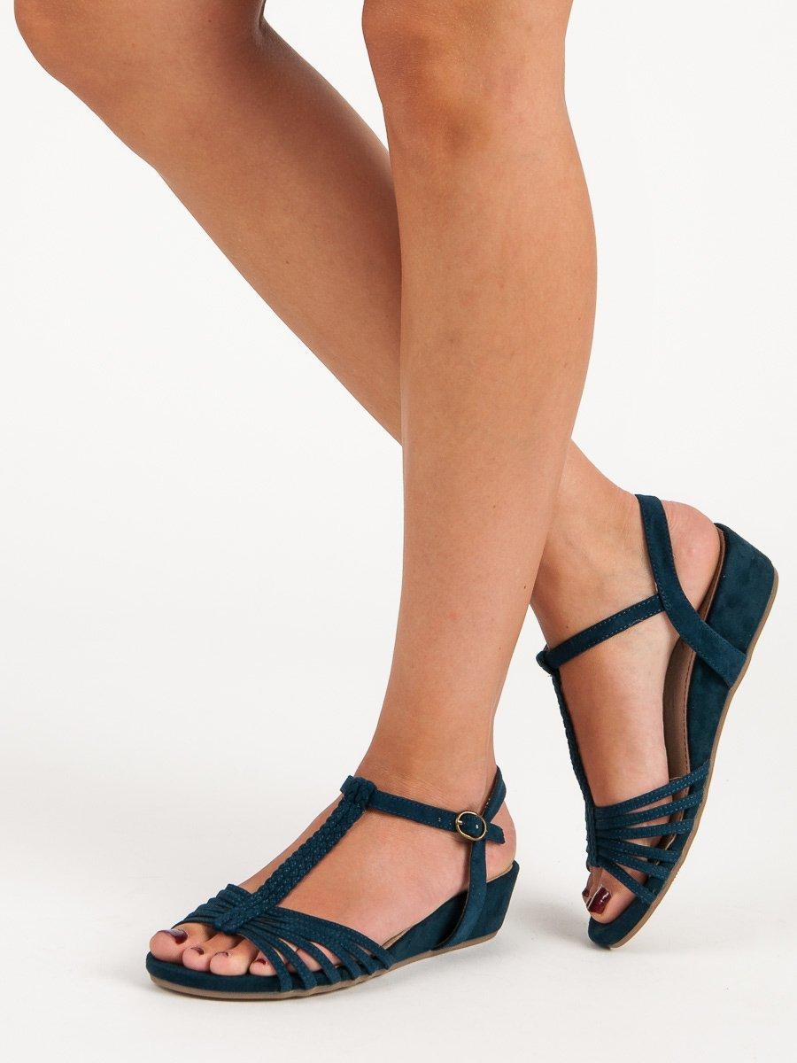 ANDY-Z Efektní modré sandály na nízkém klínku