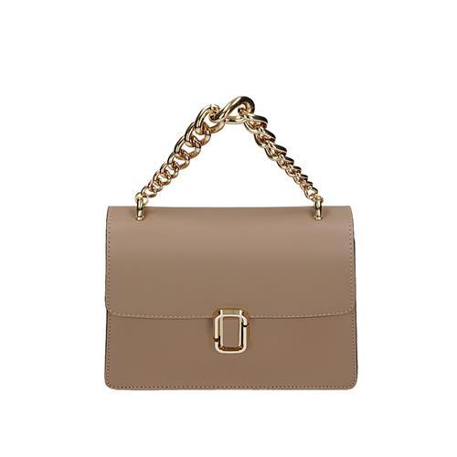Elegantní béžová kožená kufříková kabelka s řetízkem  4e228afdcc2