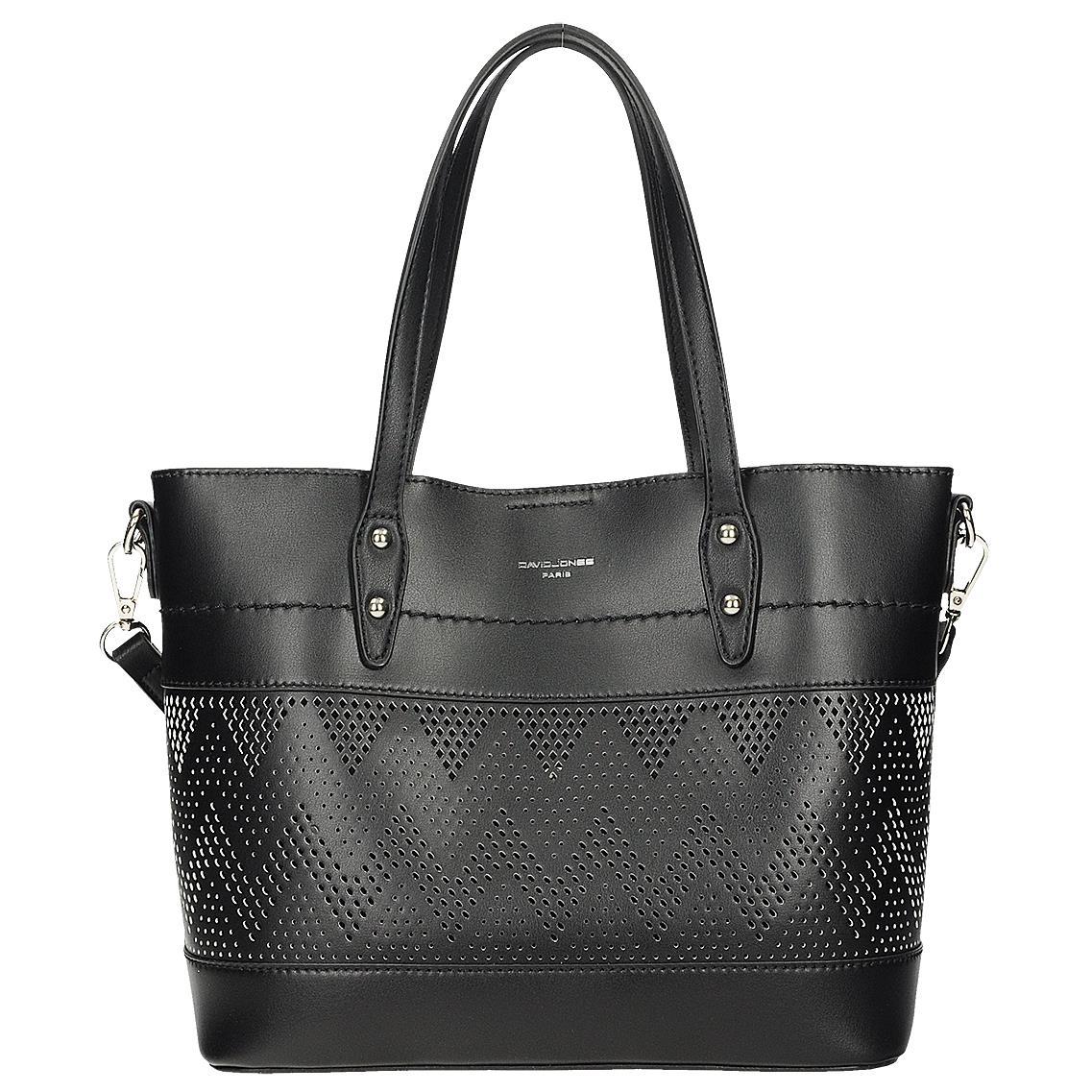 Elegantní černá ažurová kabelka