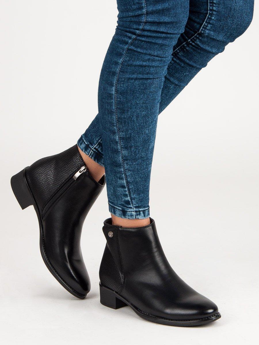 Elegantní černé kotníčkové boty na podpatku  a1b8b1fb2f