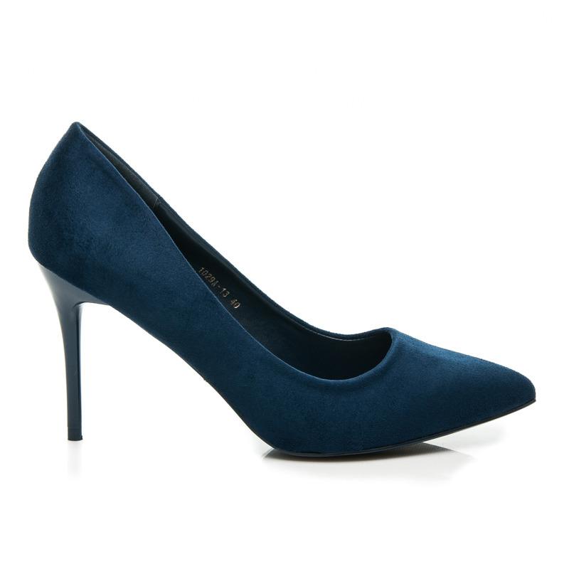 Elegantní tmavě modré semišové lodičky na jehlovém podpatku  8c345d6ae6