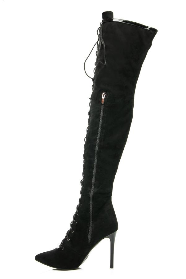 c279e61dd Elegantní vysoké černé semišové kozačky se šněrováním | AMIATEX.cz