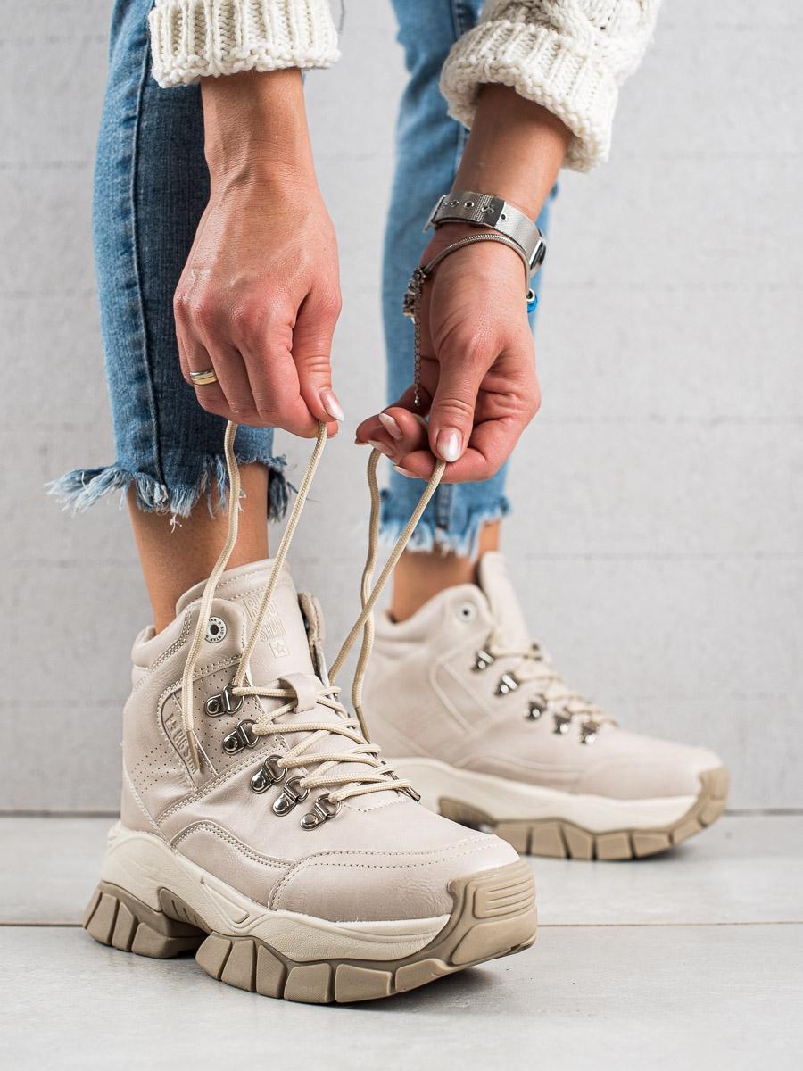 Exkluzívní  trekingové boty dámské hnědé bez podpatku
