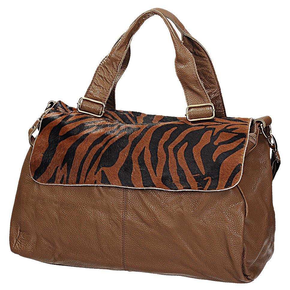 5e9e1b4863 Hnědá kožená kabelka s leopardím vzorem