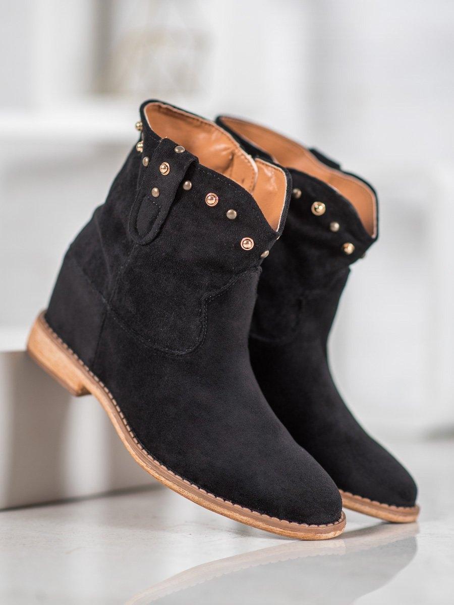 Jedinečné kotníčkové boty dámské černé na klínku
