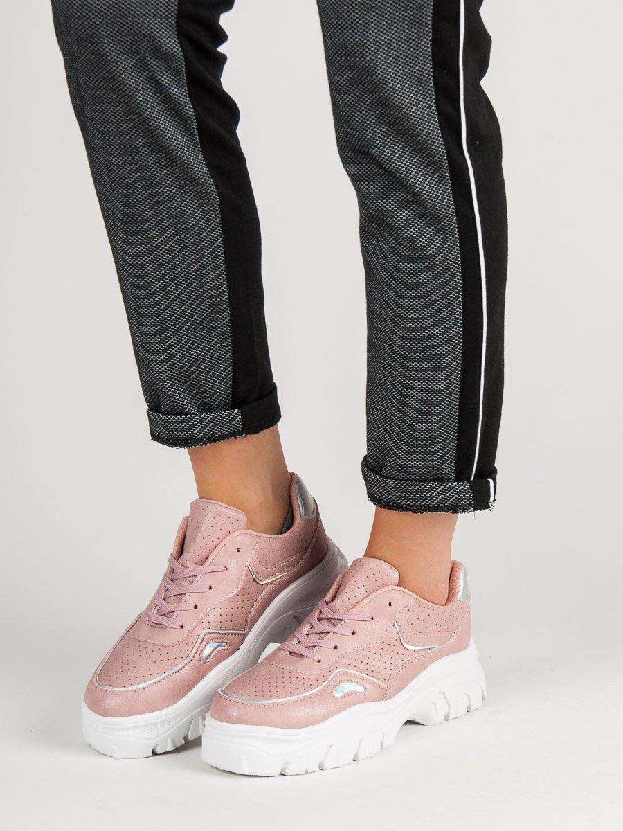 1ba3ded85ed4 Jedinečné růžové tenisky dámské bez podpatku