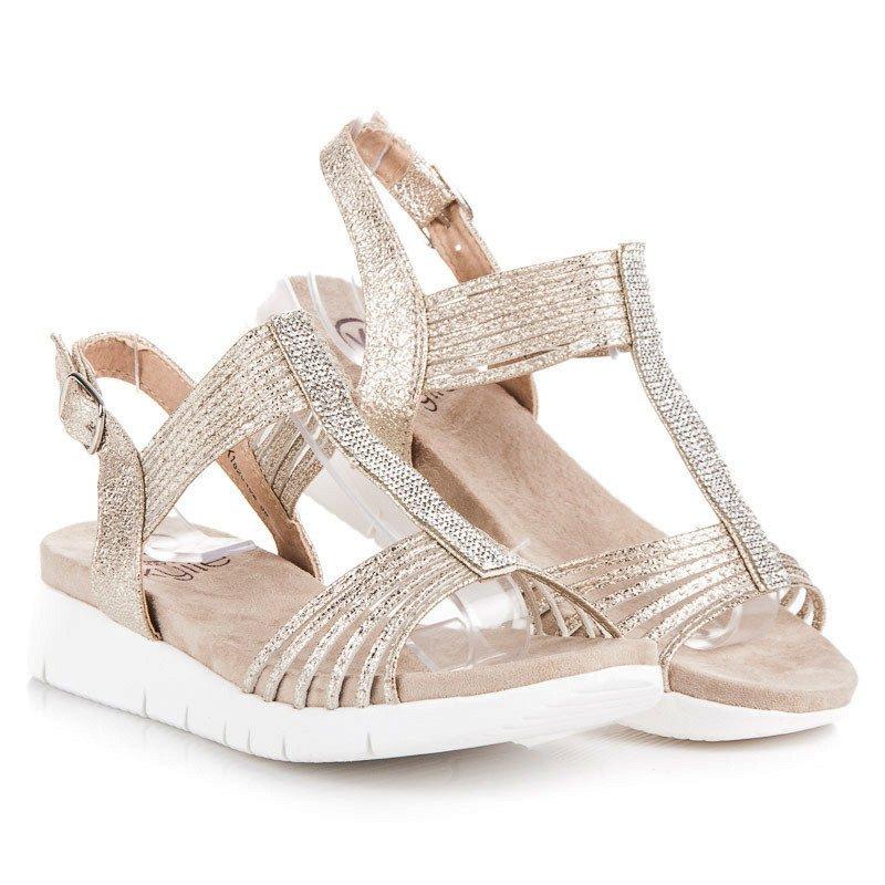 d002ee58286d3 Jedinečné zlaté sandály s krystalky | AMIATEX.cz