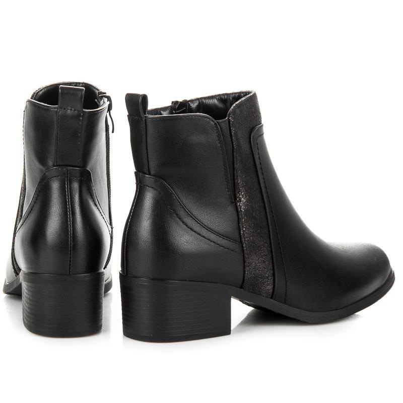 ... Klasické černé kotníkové boty na podpatku e41d04cf97