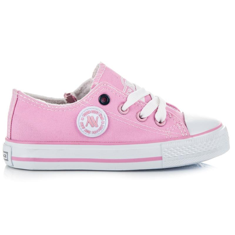 Klasické růžové dětské tenisky na šněrování  708acf3ea6