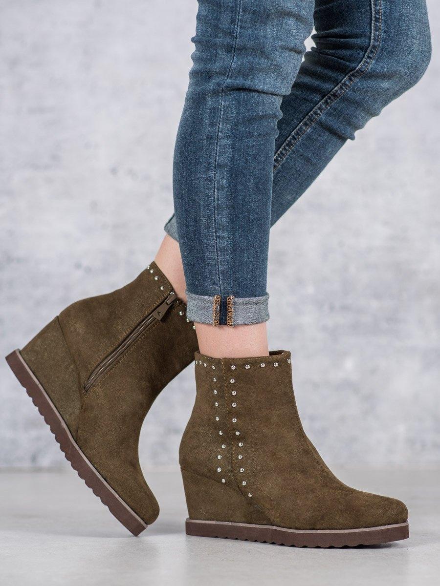 Klasické zelené kotníčkové boty dámské na klínku