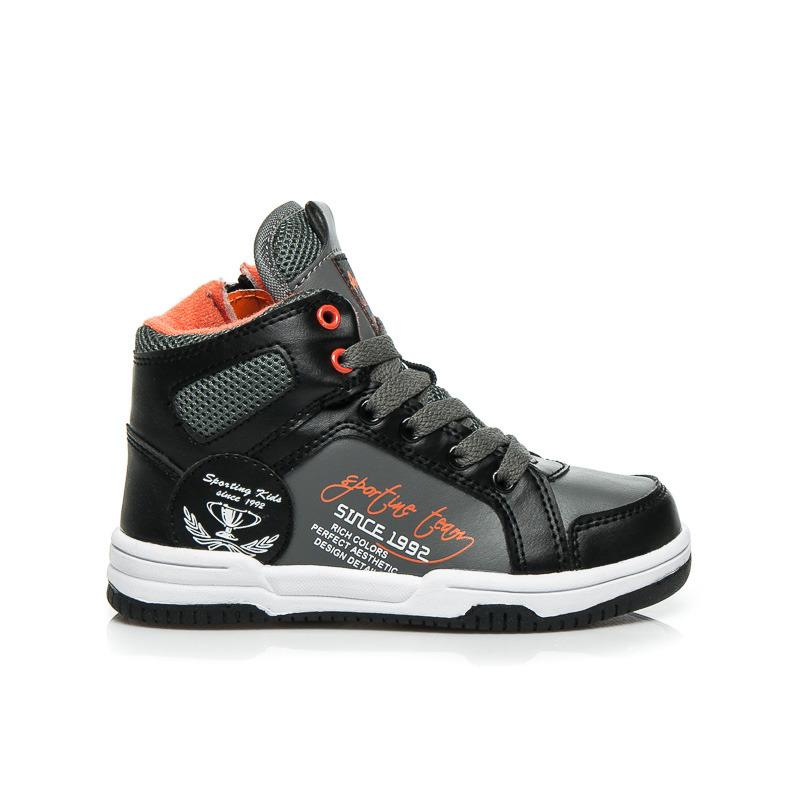 Kotníkové sportovní dětské boty - šedo-černé  04aac2684f