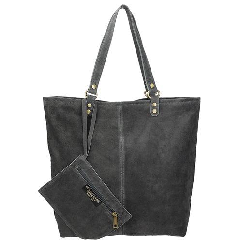 4b1a692864 Kožená šedá italská kabelka s peněženkou
