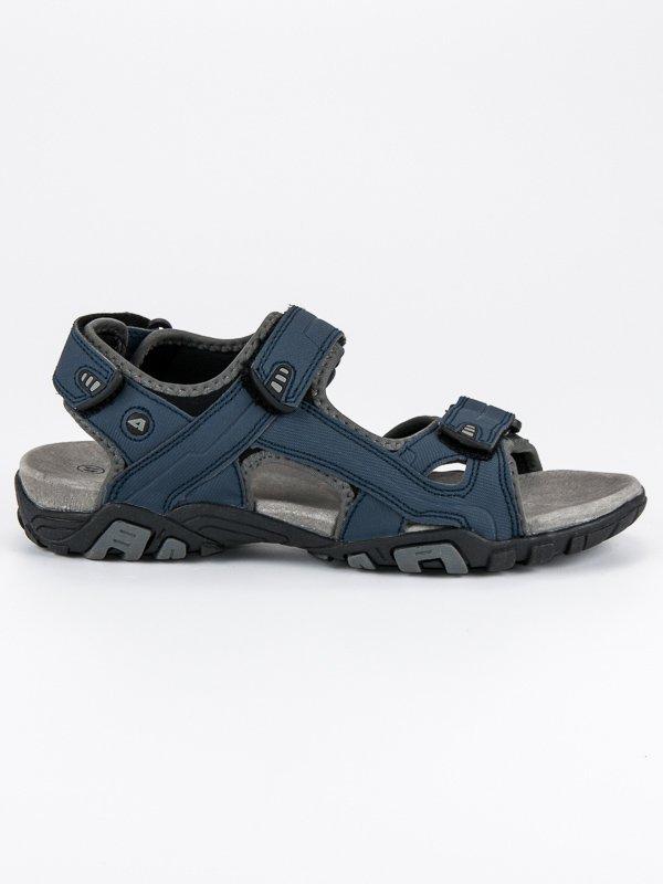 504a54d1bc960 Kožené modré pánské sandály na suchý zip | AMIATEX.cz