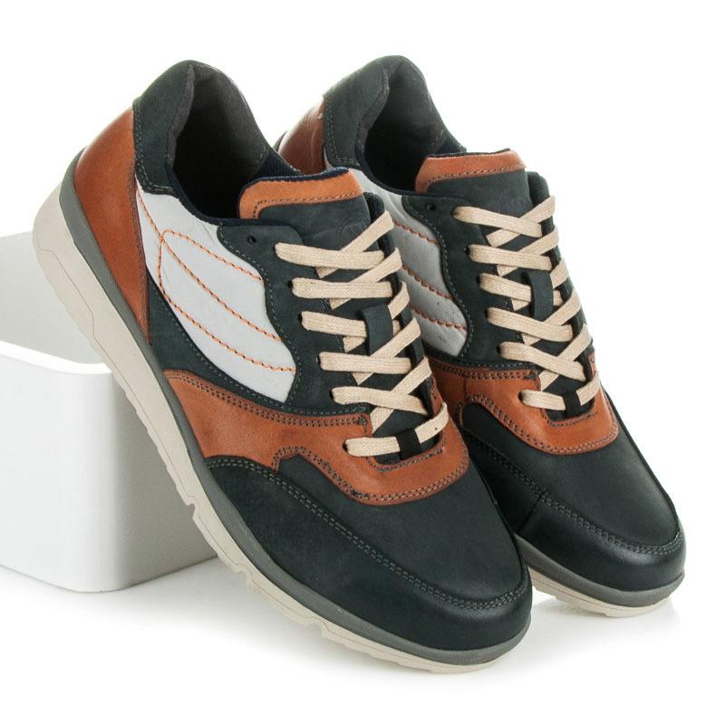 Kvalitní modré pánské sportovní boty s hnědými vložkami  8355048eea