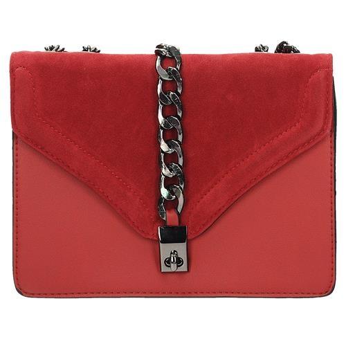 Luxusní červená crossbody kabelka s řetízkem
