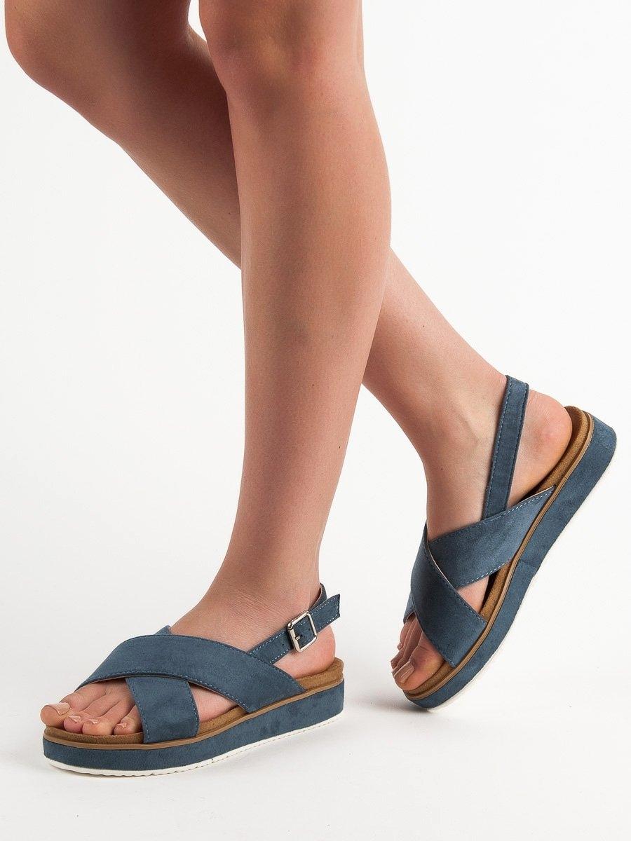 847383b98 Luxusní dámské modré sandály bez podpatku